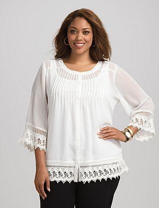 70c4d7db40adf Plus Size Crochet-Trim Peasant Top