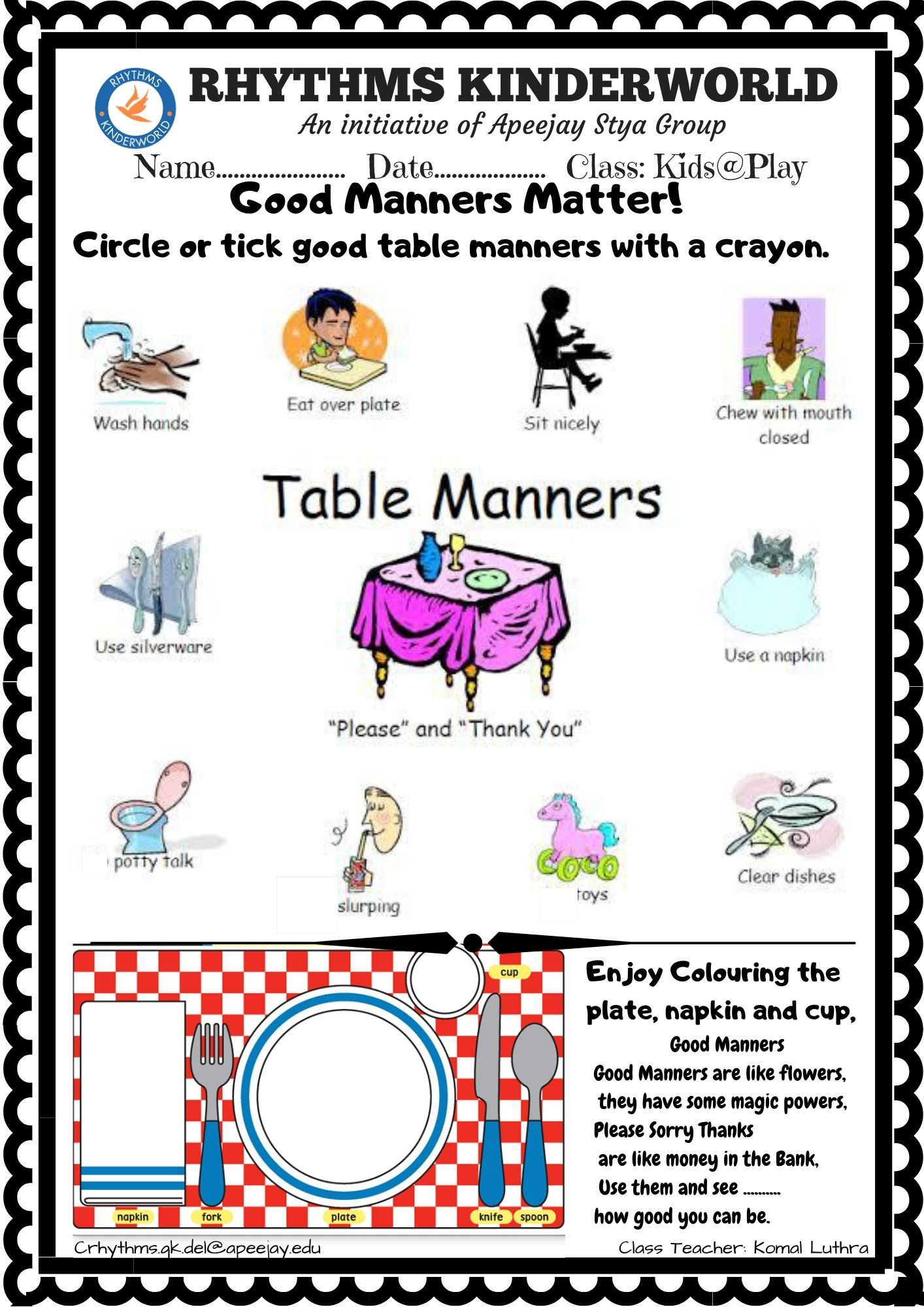 Worksheet On Good Manners In
