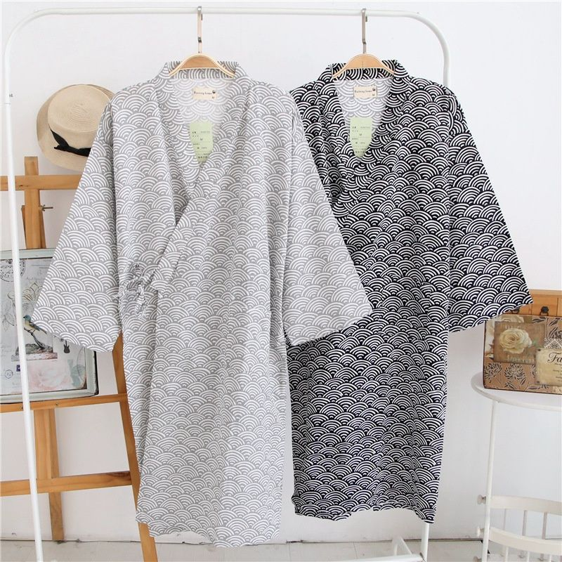 Men Japanese Kimono Yukata Cotton Bathrobe Wave Traditional Robe Gown Nightwear~