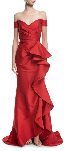 f98eeb609bc96 Badgley Mischka Collection Off-the-Shoulder Ruffled Gown   Fashion ...