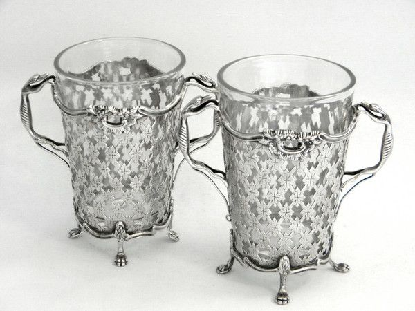 Pair Antique Silver Glass Vases London 1901 Grey Hounds Dogs