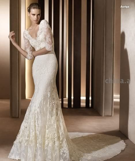 Mermaid 3 4 Sleeve White Lace Wedding Gown V Neck Bridal Dress Sz4 6 8 10 12 14 Custom Wedding Dress Long Sleeve Elie Saab Wedding Dress Wedding Dresses