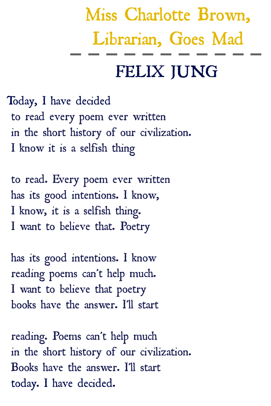 Pantoum poem format