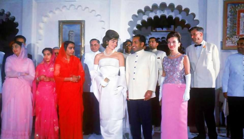 First Lady Jackie Kennedy with sister Lee Radziwill and Indian Amabassador to U. S., B. K. Nehru on goodwill tour - New Delhi, March 1962.