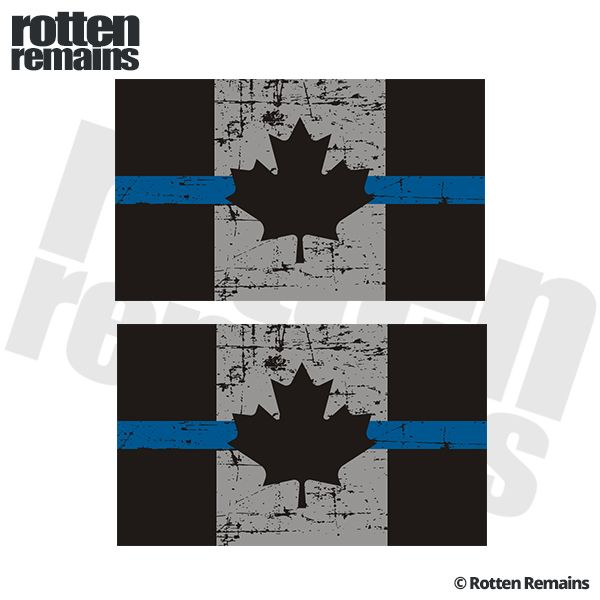Tattered Thin Blue Line Canada Flag Decal X SET Police - Vinyl decal stickers canada