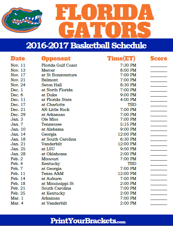 Gators Basketball Schedule >> Florida Gators 2016 2017 College Basketball Schedule College
