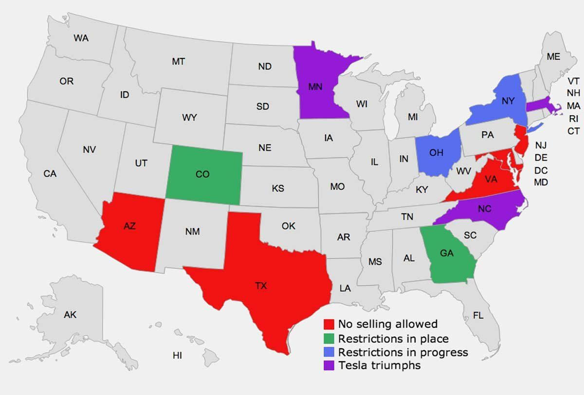 MAP Heres Where Tesla Is Banned From Selling Cars