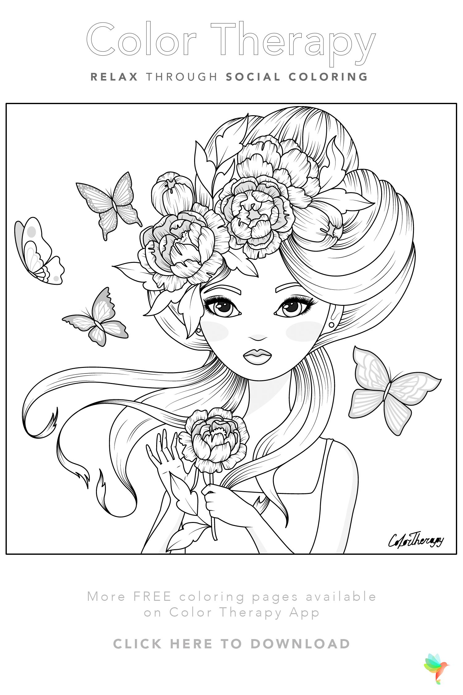 Color Therapy Gift Of The Day Free Coloring Template Moon Coloring Pages Coloring Book Art People Coloring Pages [ 2250 x 1500 Pixel ]