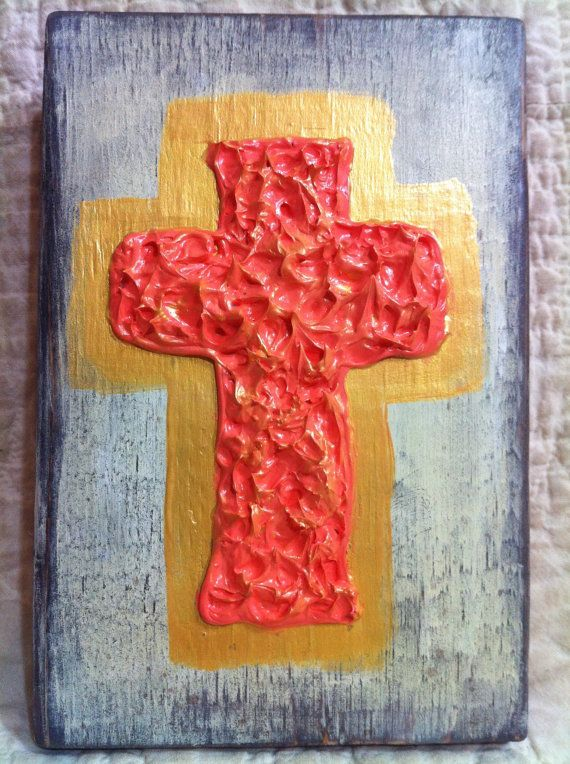 Textured cross painting on wood block by DarthsDesigns on Etsy, $15.00