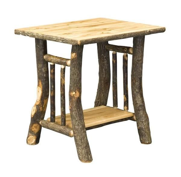 Amish Noble Rustic Hickory End Table