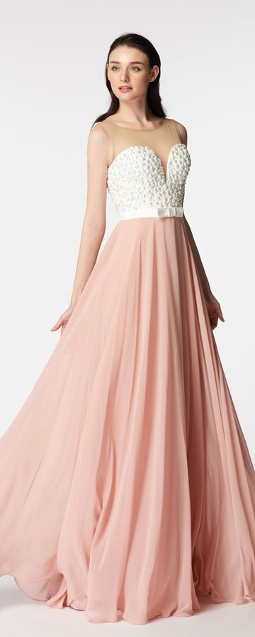 White Pearls Blush Pink Backless Prom Dresses Long Vestidos