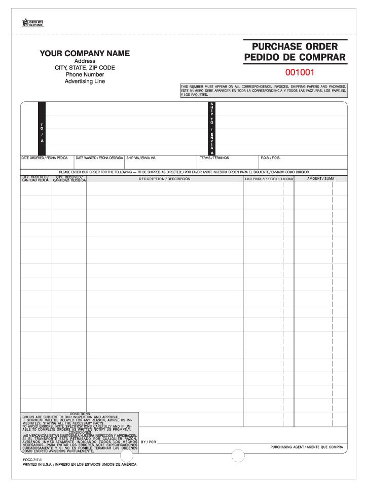 POCC-717, Bi-Lingual Snap-a-Part Purchase Orders (Carbonless - purchase order agreement template