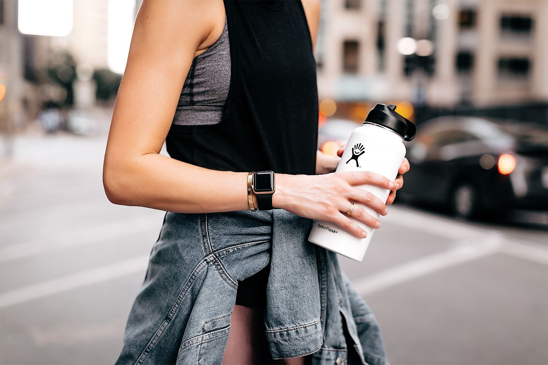 35f4dc9019 Woman Wearing Athleisure Activewear Outfit Alo Black Tank Denim Jacket  Hydro Flask White Water Bottle Apple Watch Fashion Jackson San Diego Fashion  Blogger ...