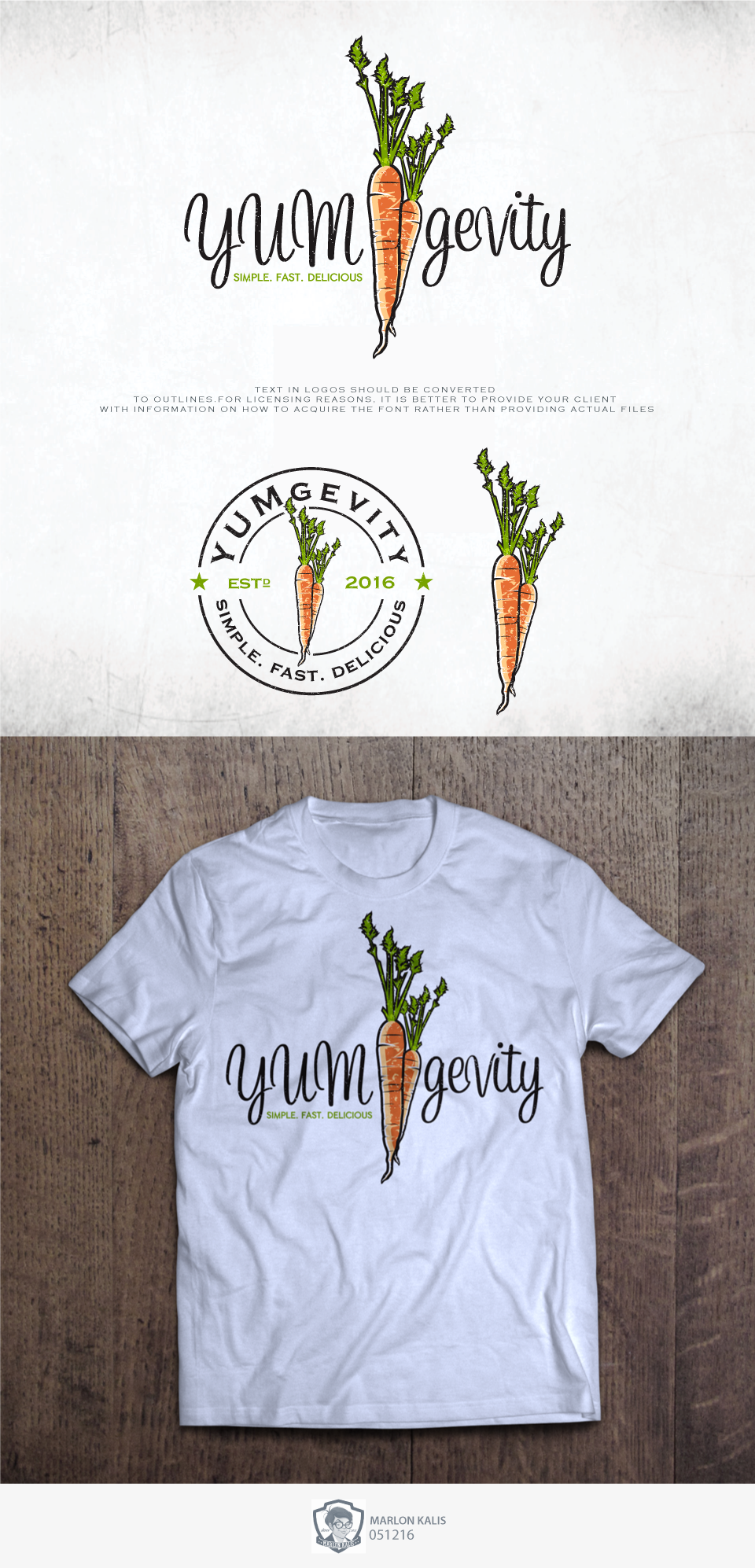 Logo design by MARLON KALIS for YUMgevity the online healthy ...