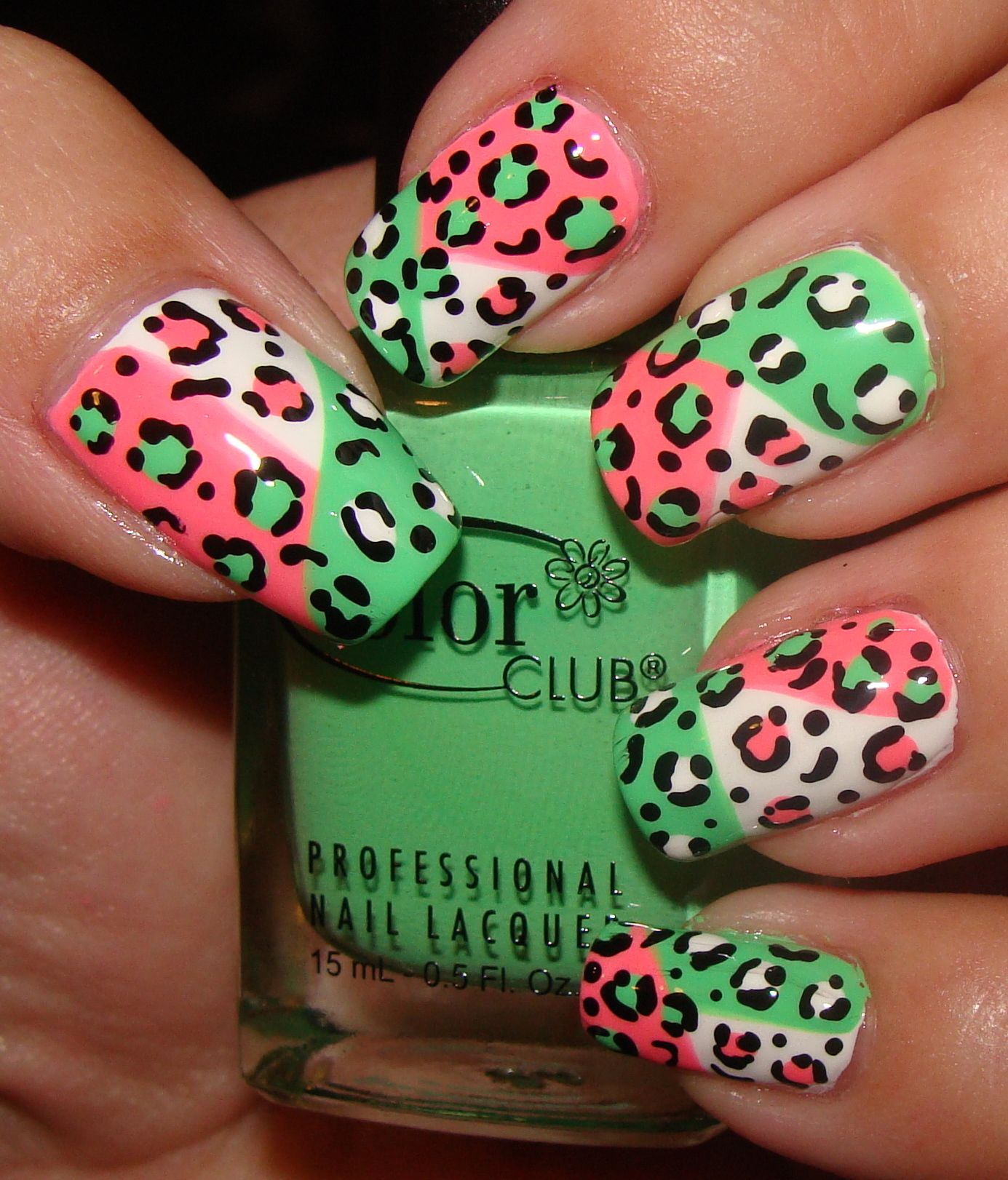 Love!!! Green, Pink & White color blocking with leopard, animal ...