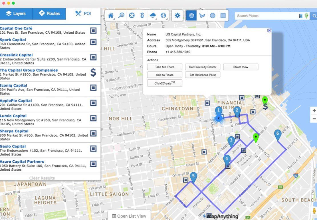 MapAnything Mobile app, Route planner, Business intelligence