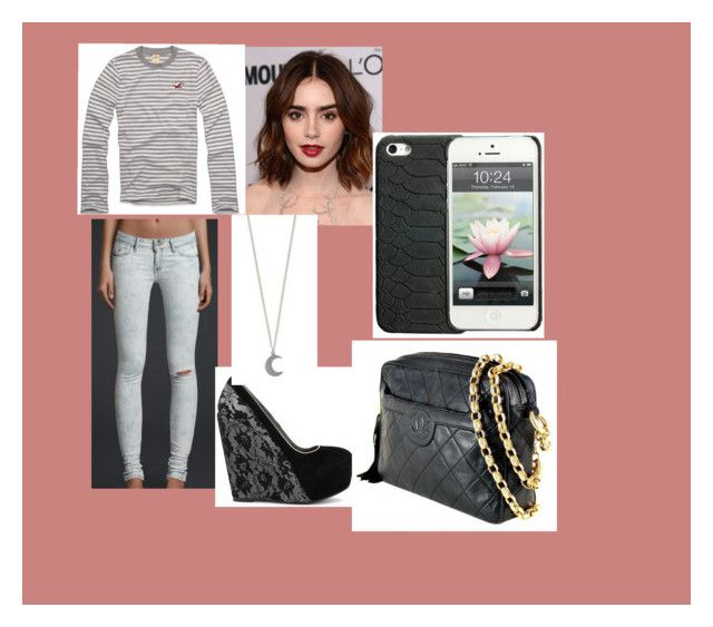"""""""Ava-Bella"""" by oomfoveryou ❤ liked on Polyvore featuring Hollister Co., Sugarfree Shoes, GiGi New York, Chanel, women's clothing, women's fashion, women, female, woman and misses"""