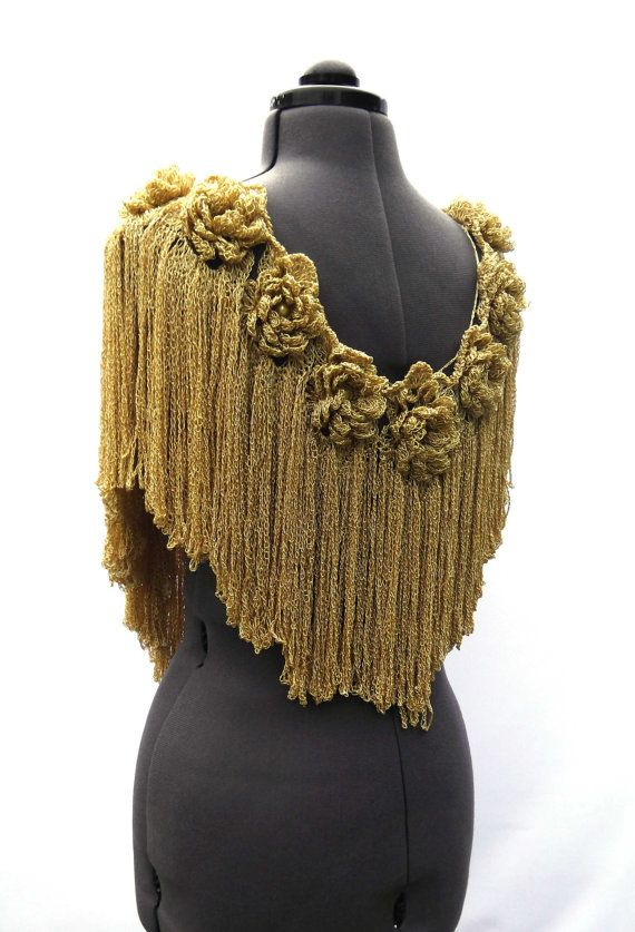 Crochet Women Scarf Collar Mustard Gold Roses Flowers and Chains ...