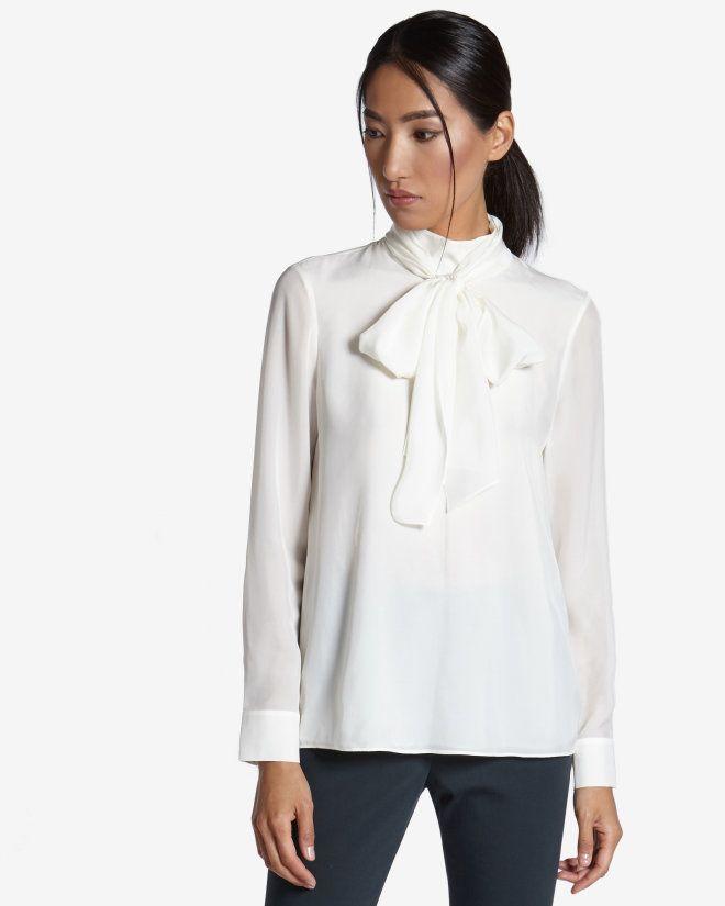 9813cdadbd61d3 Tie neck blouse - Cream