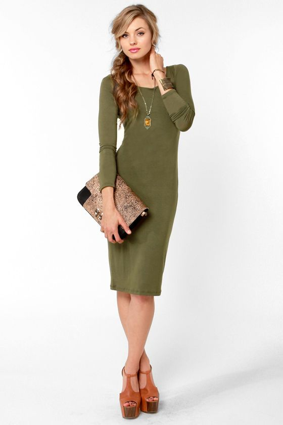 19ce8786f686 Olive green (rustic is best) will be a hot color Spring 2013. Essential Olive  Green Dress - Long Sleeve Dress - Midi Dress -  35.50
