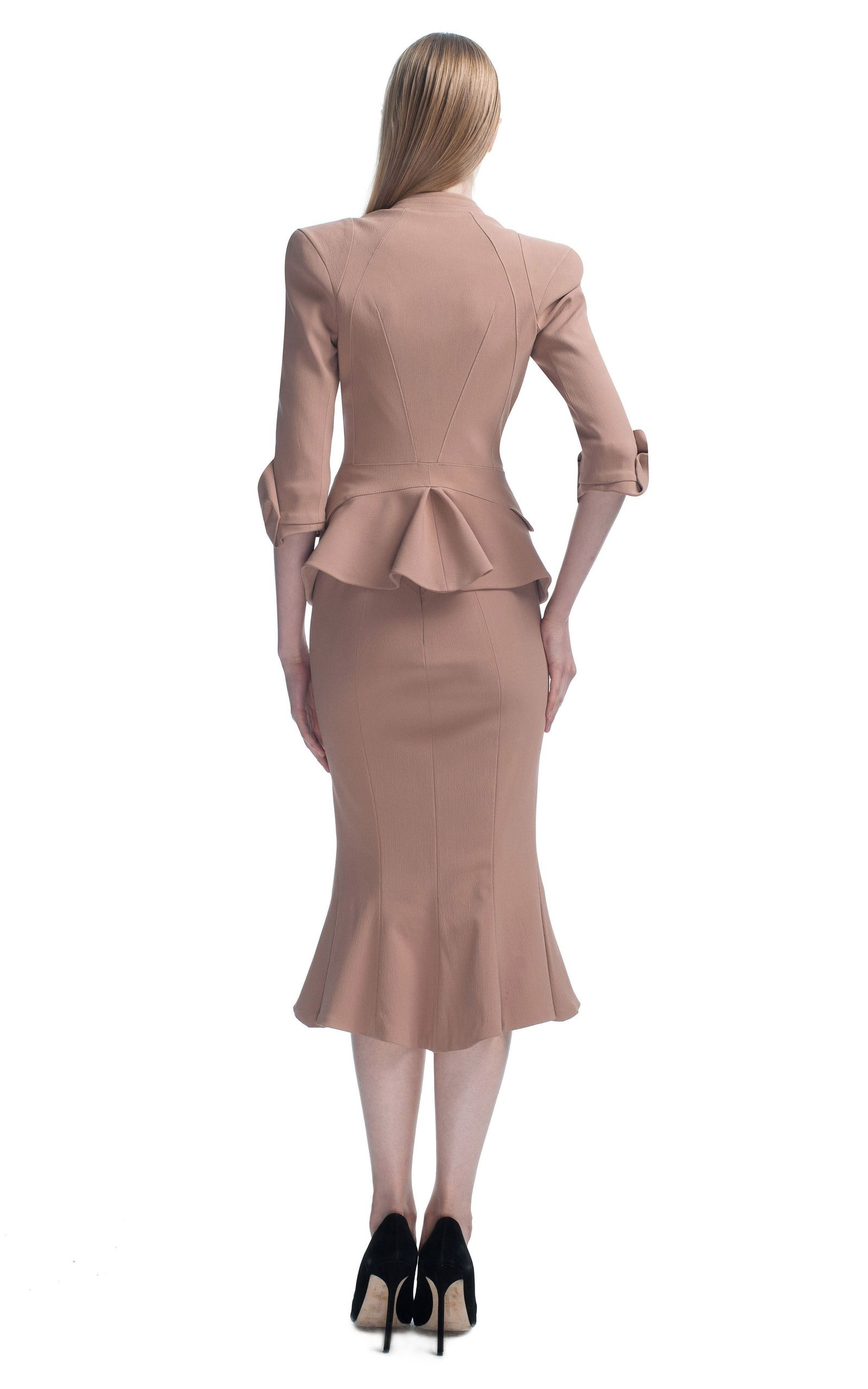Tan Structured Jacket by Zac Posen for Preorder on Moda Operandi