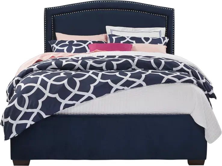 Loden Navy 3 Pc Queen Upholstered Bed Upholstered Beds Contemporary Bed Linen Affordable Furniture Stores