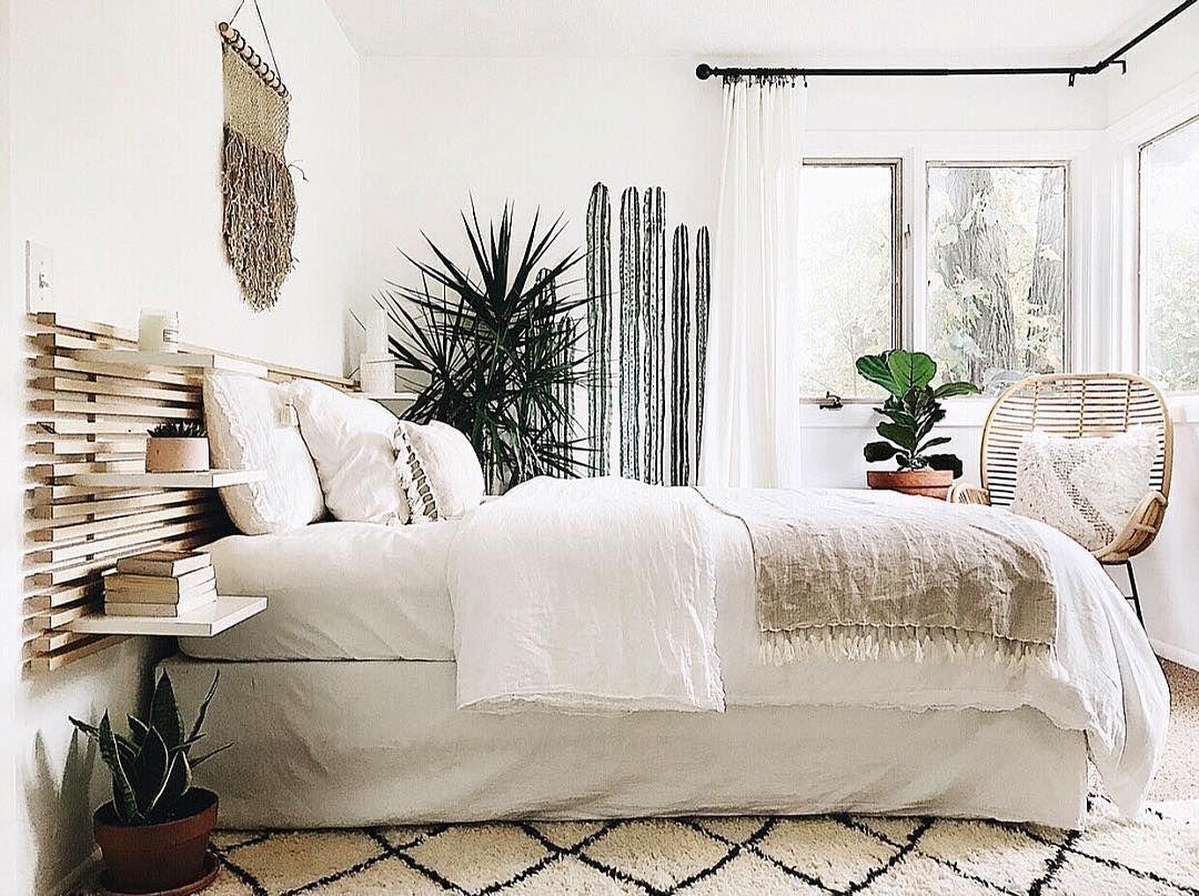 Neutral Tones And Boho Accents Complete This Beautiful Bedroom Interiordesignbedro Interior Design Bedroom Small Interior Design Bedroom Teenage Home Bedroom