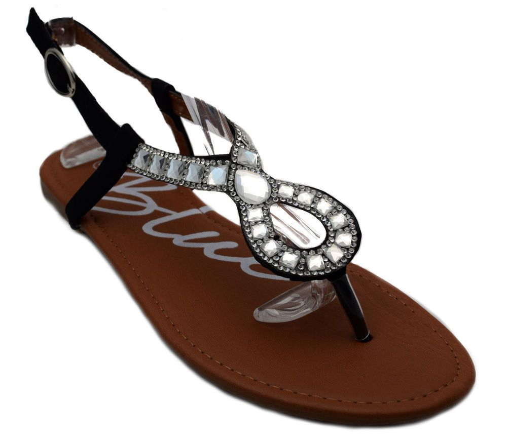 b12d503f1 Womens Beaded Jeweled Rhinestone Gladiator Sandals Black Silver White NEW   Blue  Gladiator  Casual