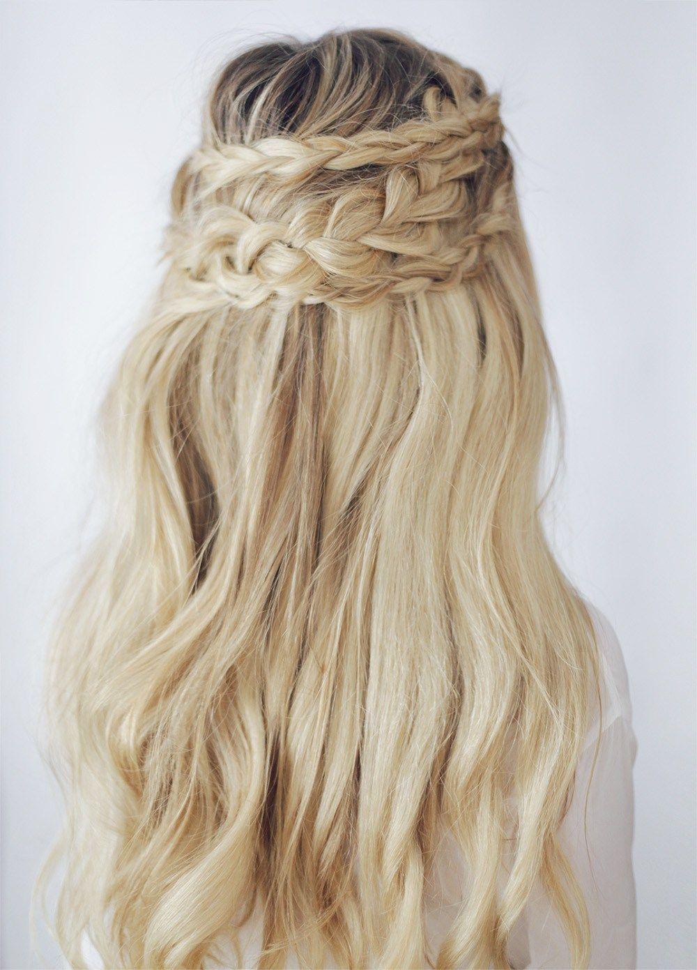 Braided crown braids hairstyle ideas braid half up hairstyles hair