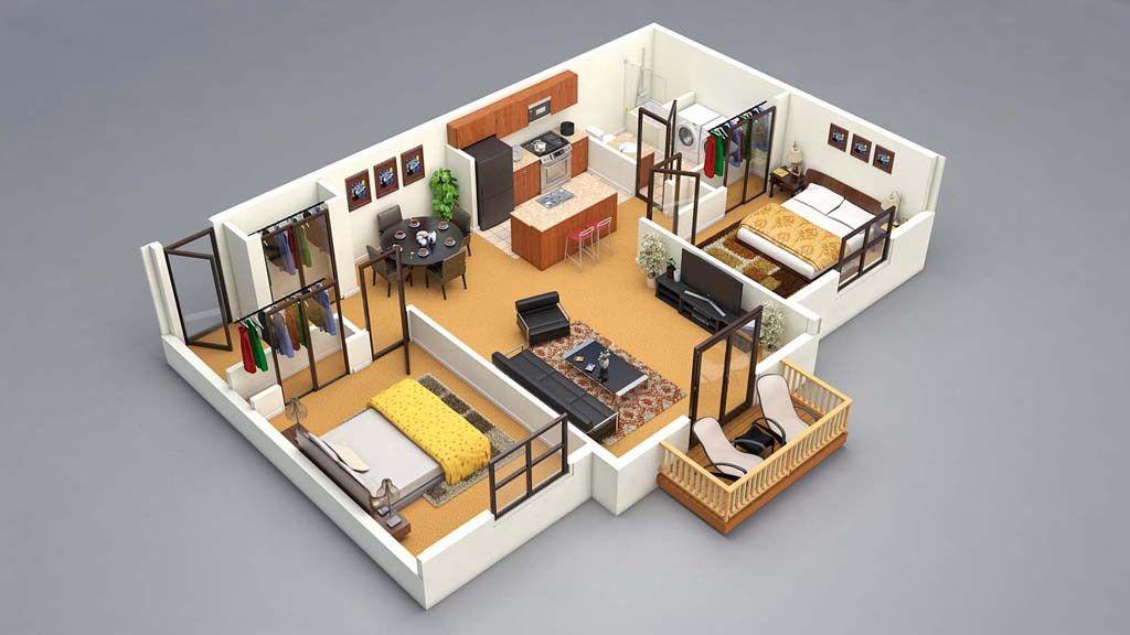 3d Floor Plan 2bed Design Fur Zuhause Grundriss Kleine