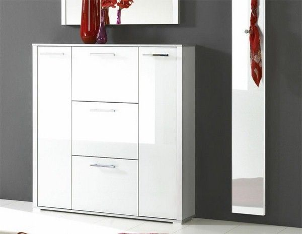 Shoe Cabinet White High Gloss Hallway Furniture Modern Design Hall