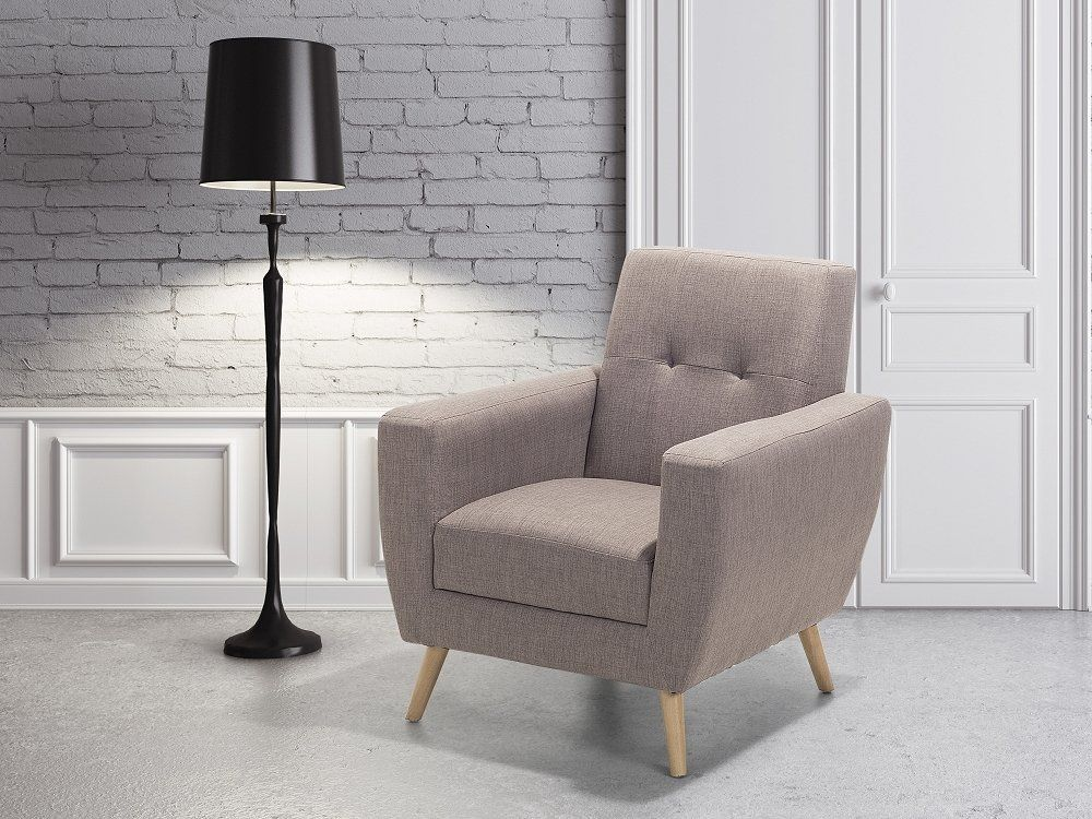 Best Fabric Armchair Taupe Beige Herning Grey Armchair 400 x 300