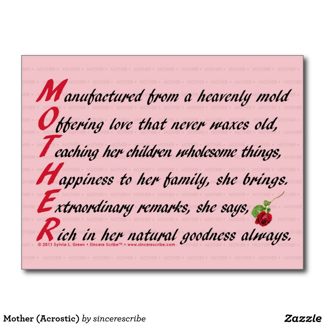 Mother Acrostic Postcard Mothers Day Poems Mother Acrostic