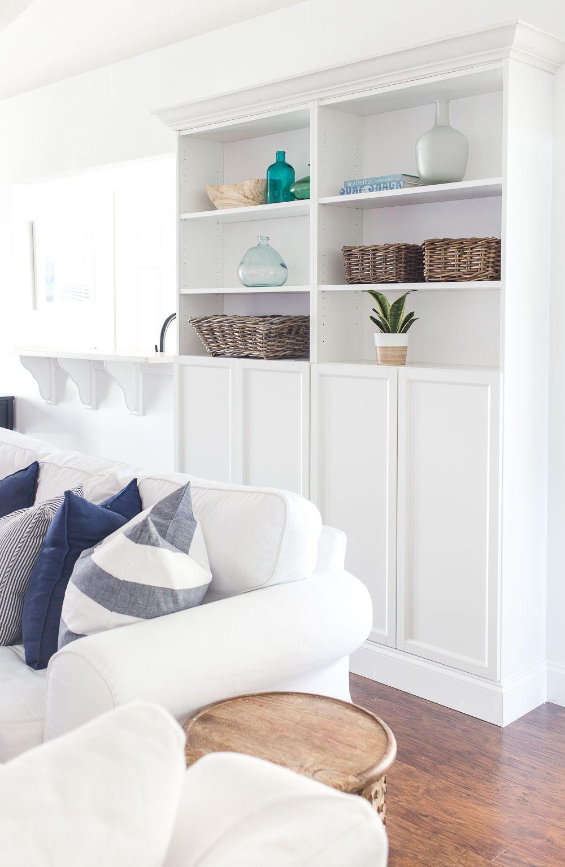 Customized IKEA Billy Bookcases DIY Built In Bookshelves