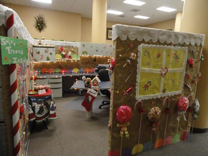 Decorated cubicles with ginger bread for Cubicle theme ideas