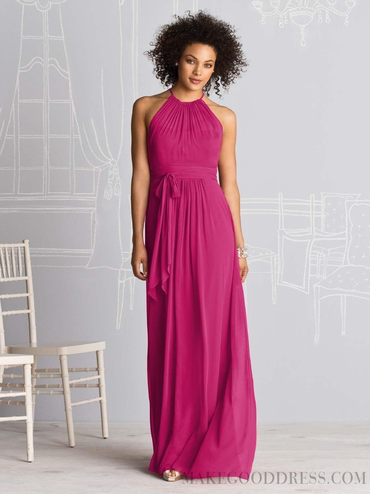 Sheath / Column Halter Sashes / Ribbons Chiffon Bridesmaid Dresses ...