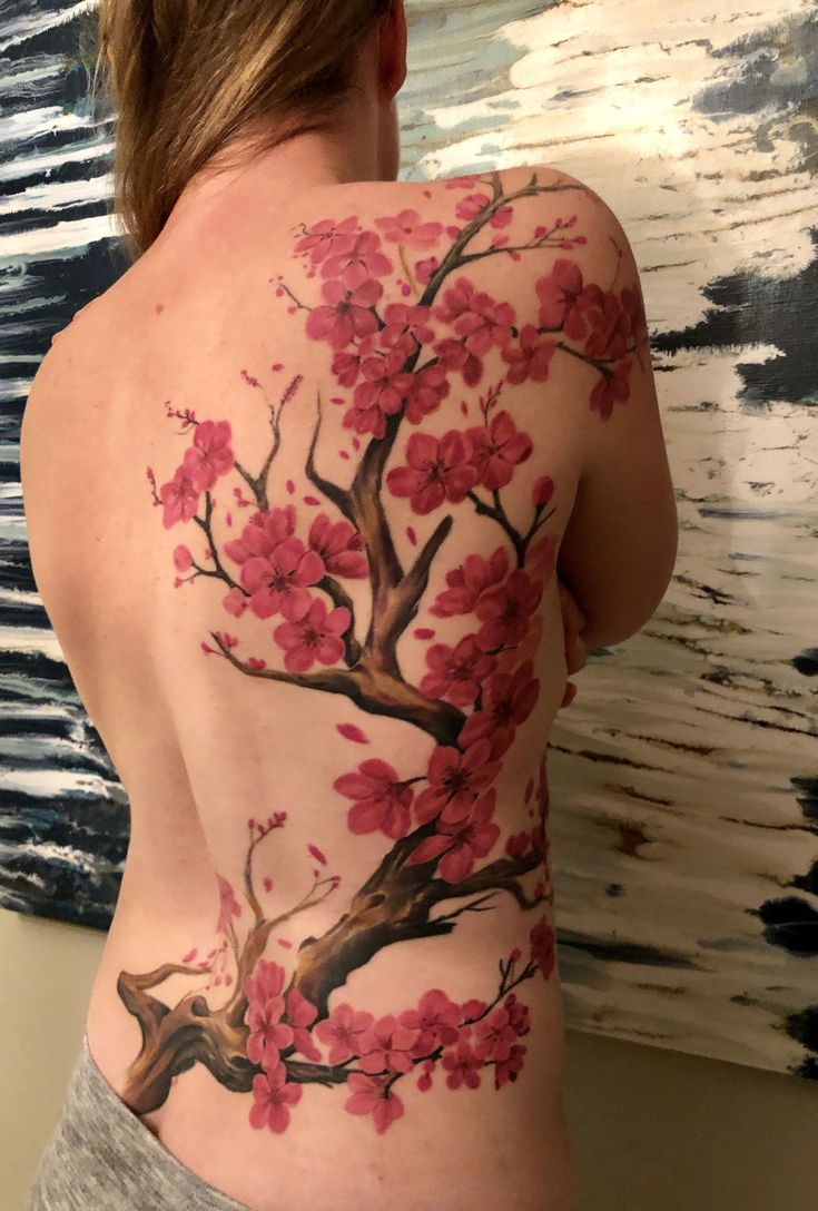 Cherry Blossom Tattoo On Back Shoulder And Collarbone Tattoosonbackspine Blossom Cher Cherry Blossom Tattoo Shoulder Blossom Tattoo Cherry Blossom Tattoo