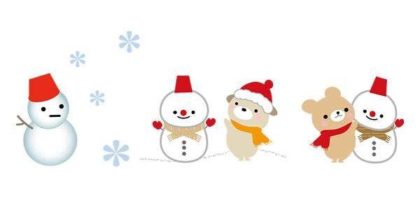 かわいい 雪だるま 冬のイラスト 季節冬winter 雪だるま