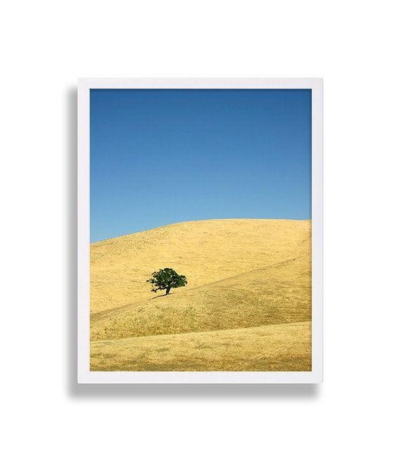California Hills Photo Print Yellow Art Landscape Photography Lone ...