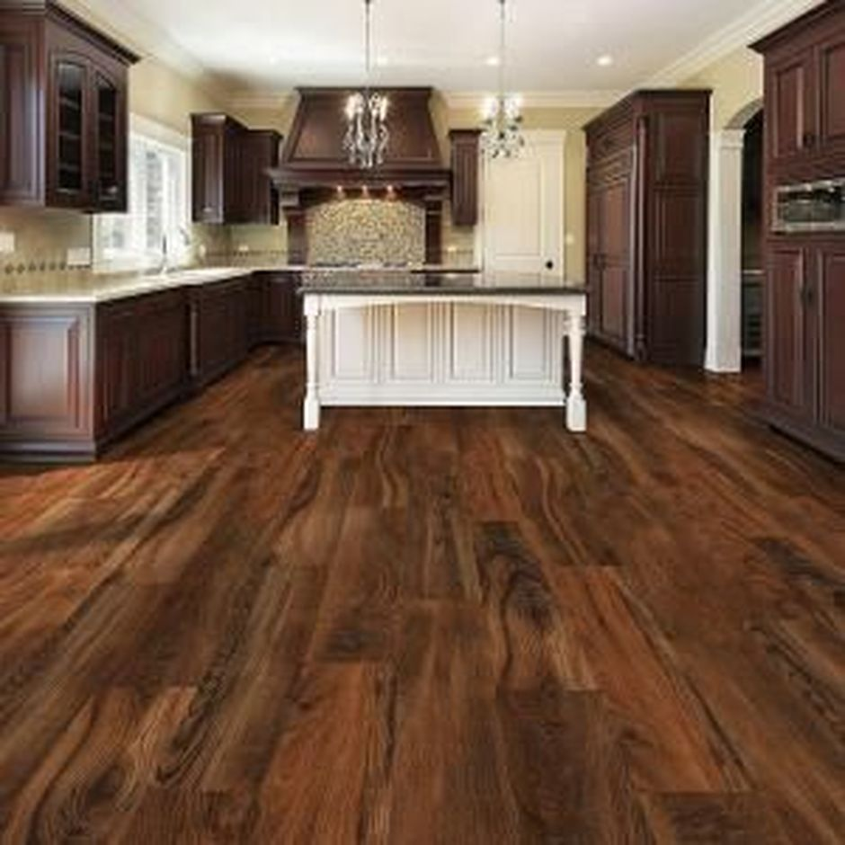 Luxury Vinyl Plank Flooring Inspirations 6 In 2020 Home Two Tone Kitchen Cabinets Dark Wood