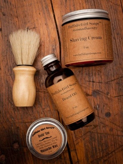 Men's Shaving Kit and Beard Taming by Buffalo Girl Soaps for Bourbon and Boots
