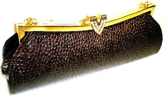 Home > Handbags > Evening Bags >      Ladies Brown Snakeskin Look Diamante Evening Clutch