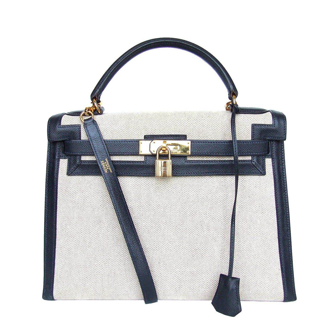 6f89b635282 Authentic Hermes Kelly 32 Bag Sellier Bi Matiere Canvas Leather Gold ...
