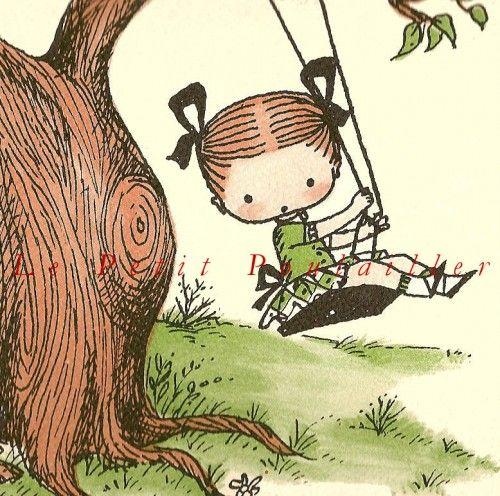 4ec5f94e4 Nena en la hamaca | Ilustraciones infantiles | Ilustraciones ...