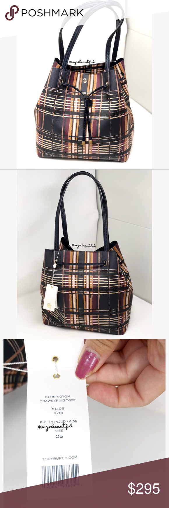 5a60757495d NWT Tory Burch Kerrington Drawstring Tote Plaid Brand new Tory Burch  Kerrington Drawstring Tote Philly Plaid