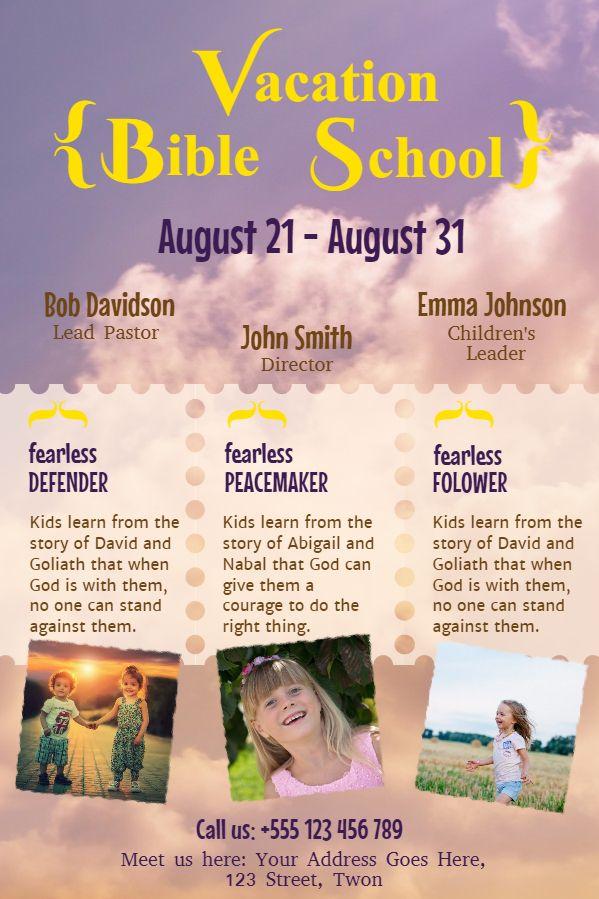 Vacation Bible School Flyer Template Design Sky Church Event