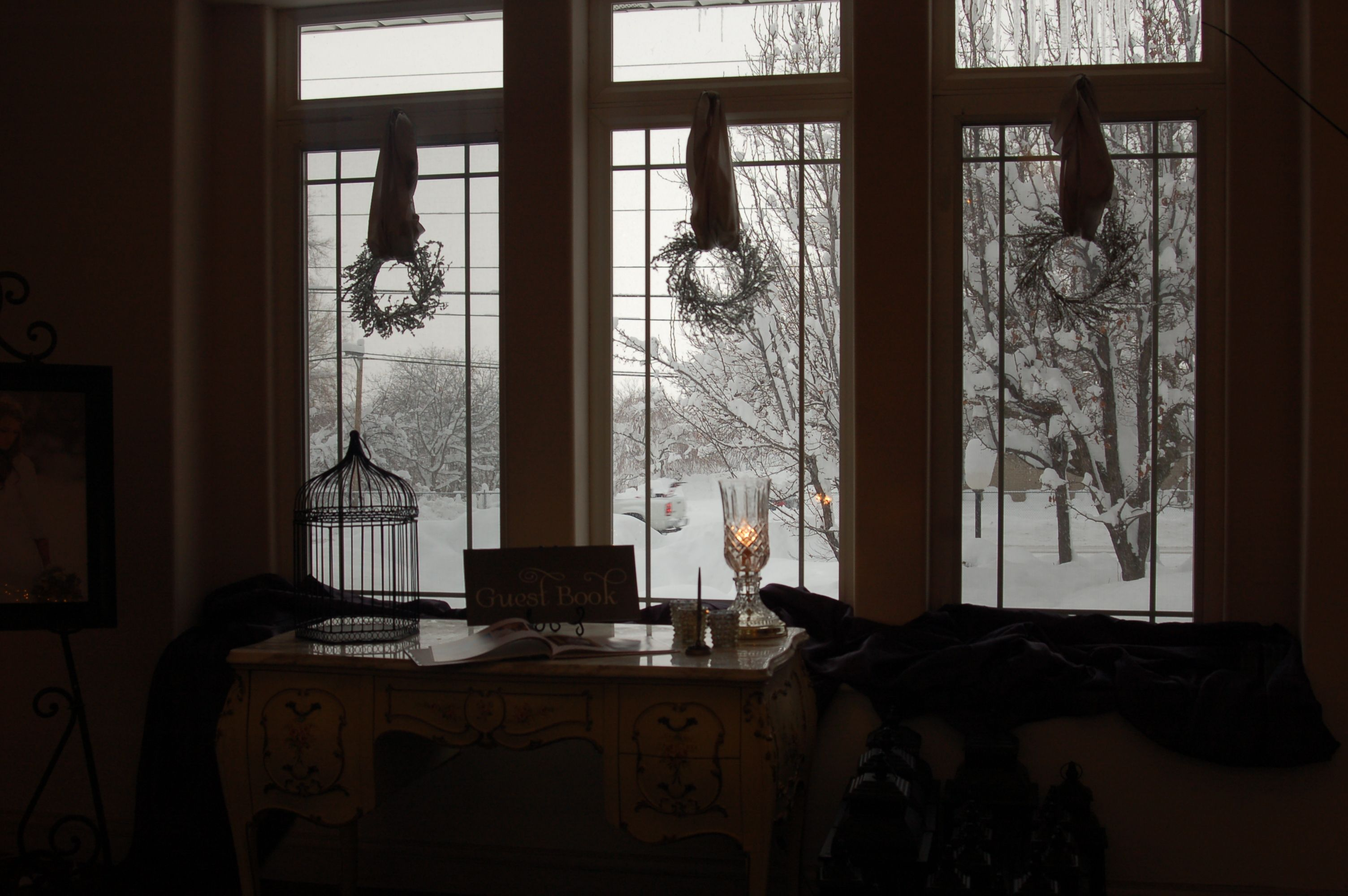 Crystal wreaths against a backdrop of snow .. Event Masters