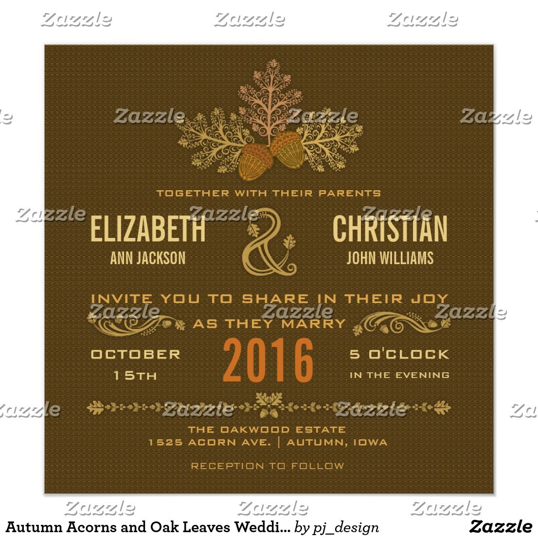 Autumn acorns and oak leaves wedding invitation modern stylized lacy