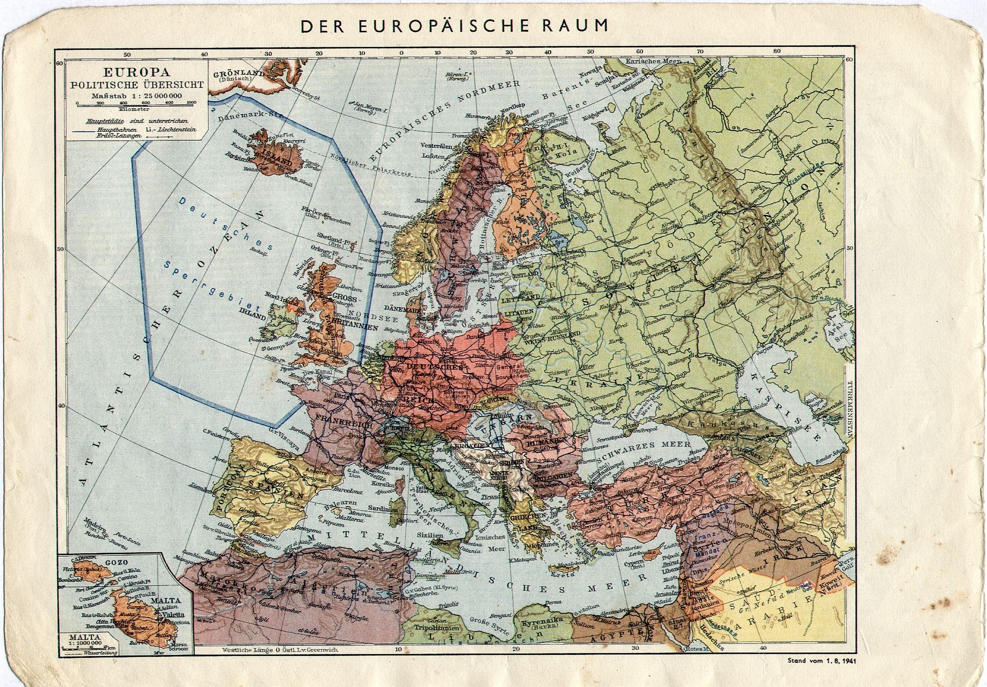 1941 German map of Europe with a Forbidden Zone around UK map