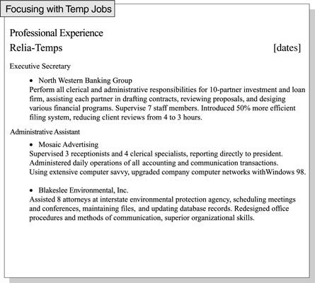 Focus your resume on job experience that\u0027s relevant to a specific